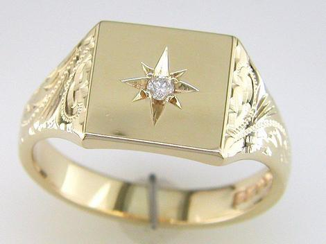 Diamond gold signet ring