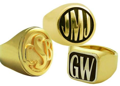 Engraved gold signet rings