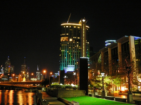 Crown Casino in Melbourne at night